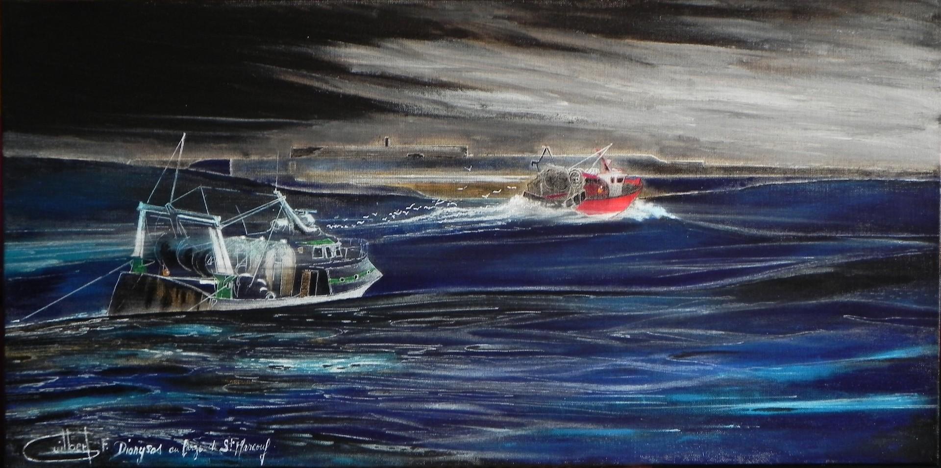 Dionysos et l'Hippocampe devant les îles St Marcouf