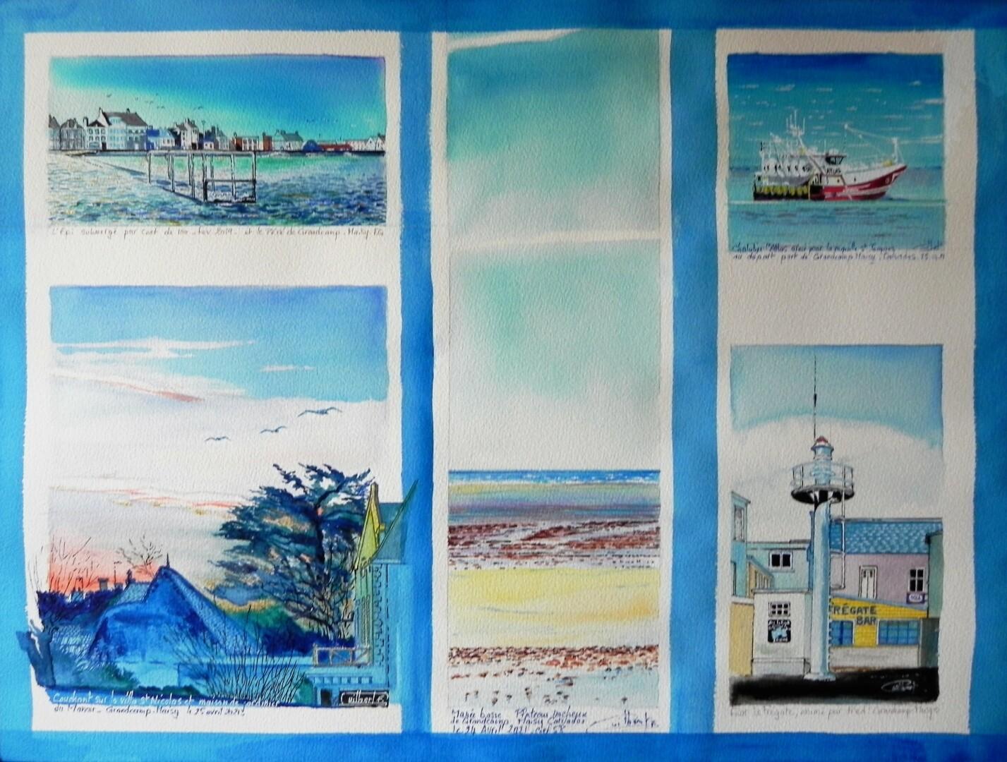 Composition : Le Village de Grandcamp-Maisy (en cinq vues)